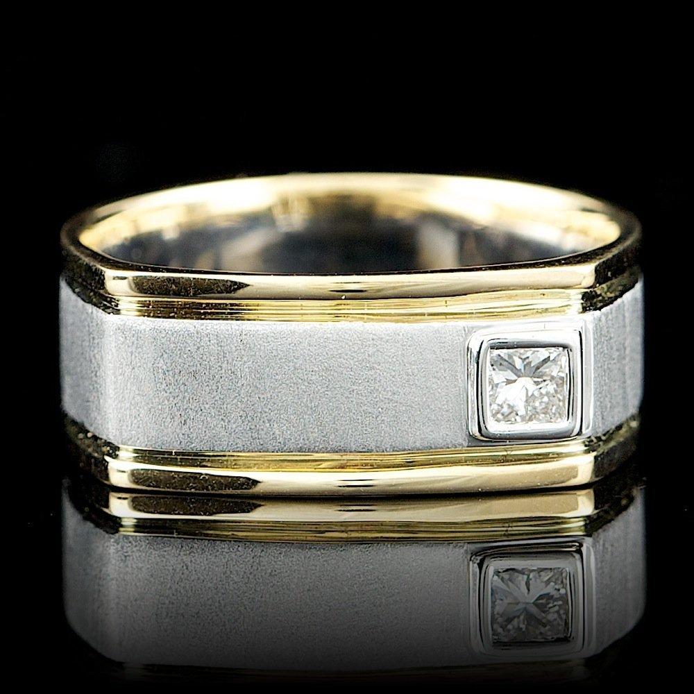 14k Multi-Tone Gold 0.26ct Diamond Mens Ring