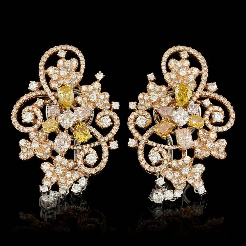 18k Multi-Tone Gold 5.96ct Diamond Earrings