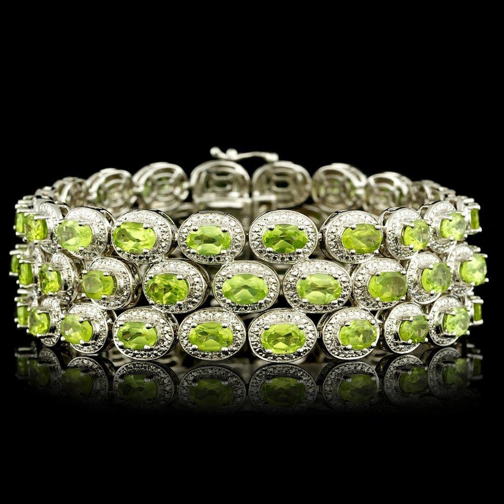 925 Sterling Silver 40.00ct Peridot Bracelet
