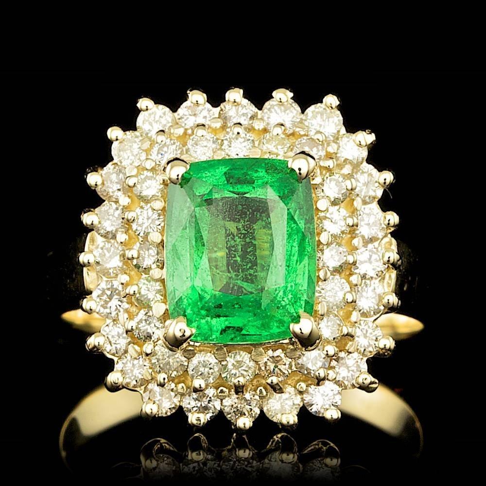 14k Gold 2.50ct Tsavorite 1.00ct Diamond Ring