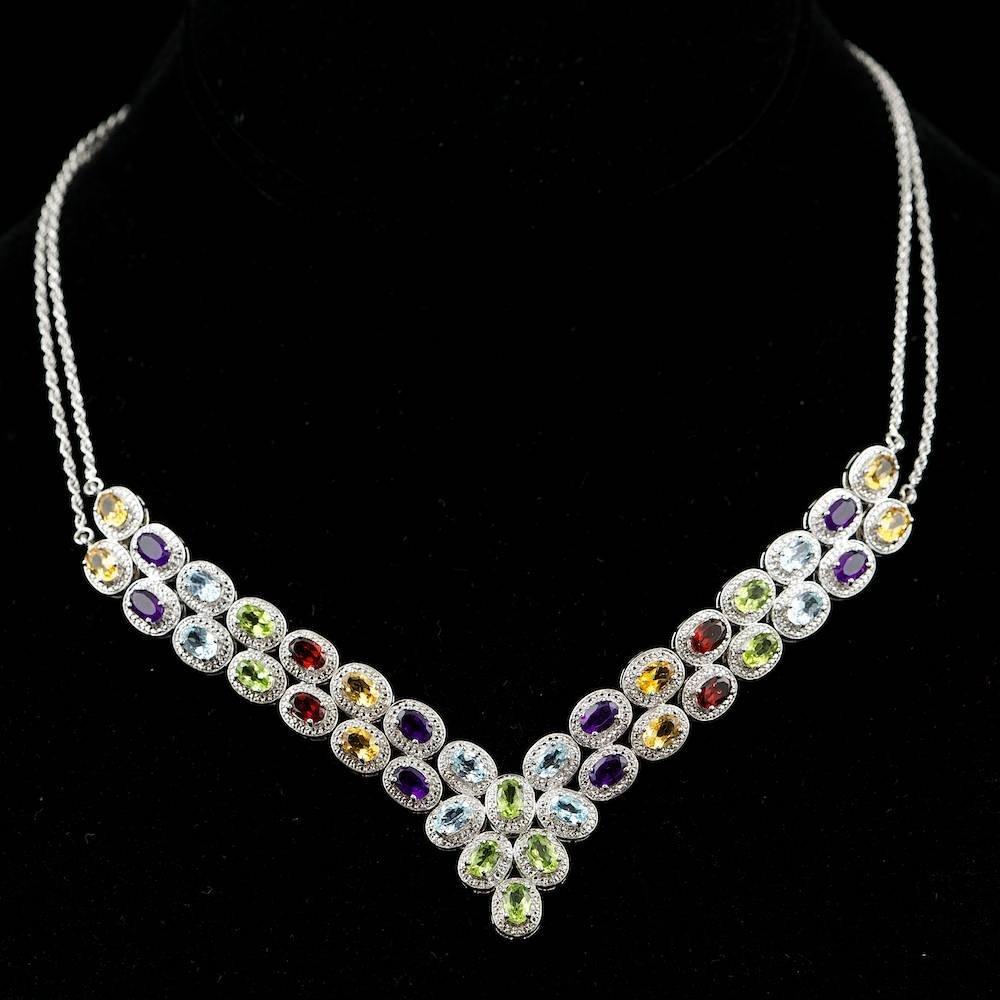 925 Silver 18ct Semi Precious Stones Necklace