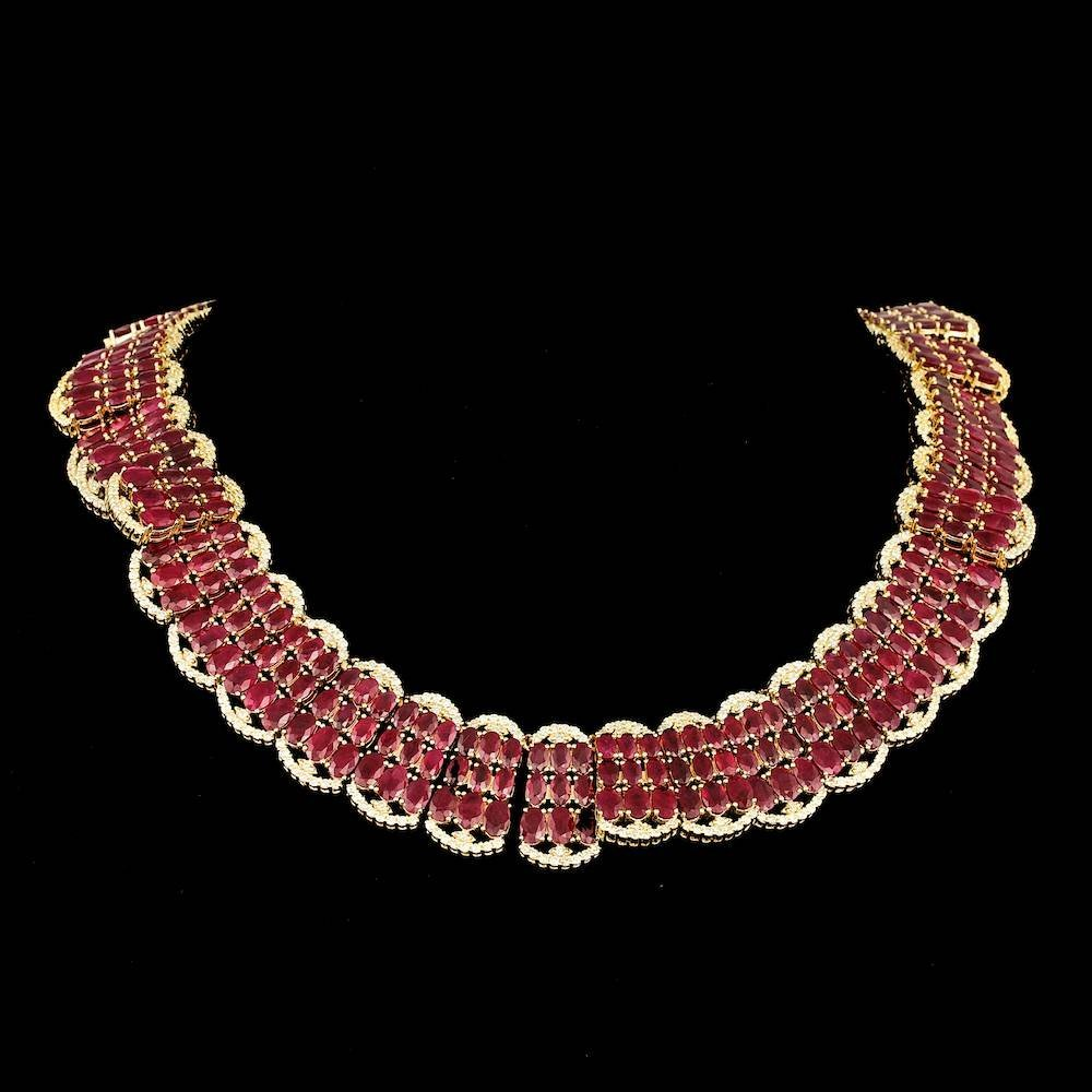 14k Gold 140.00ct Ruby 10.00ct Diamond Necklace