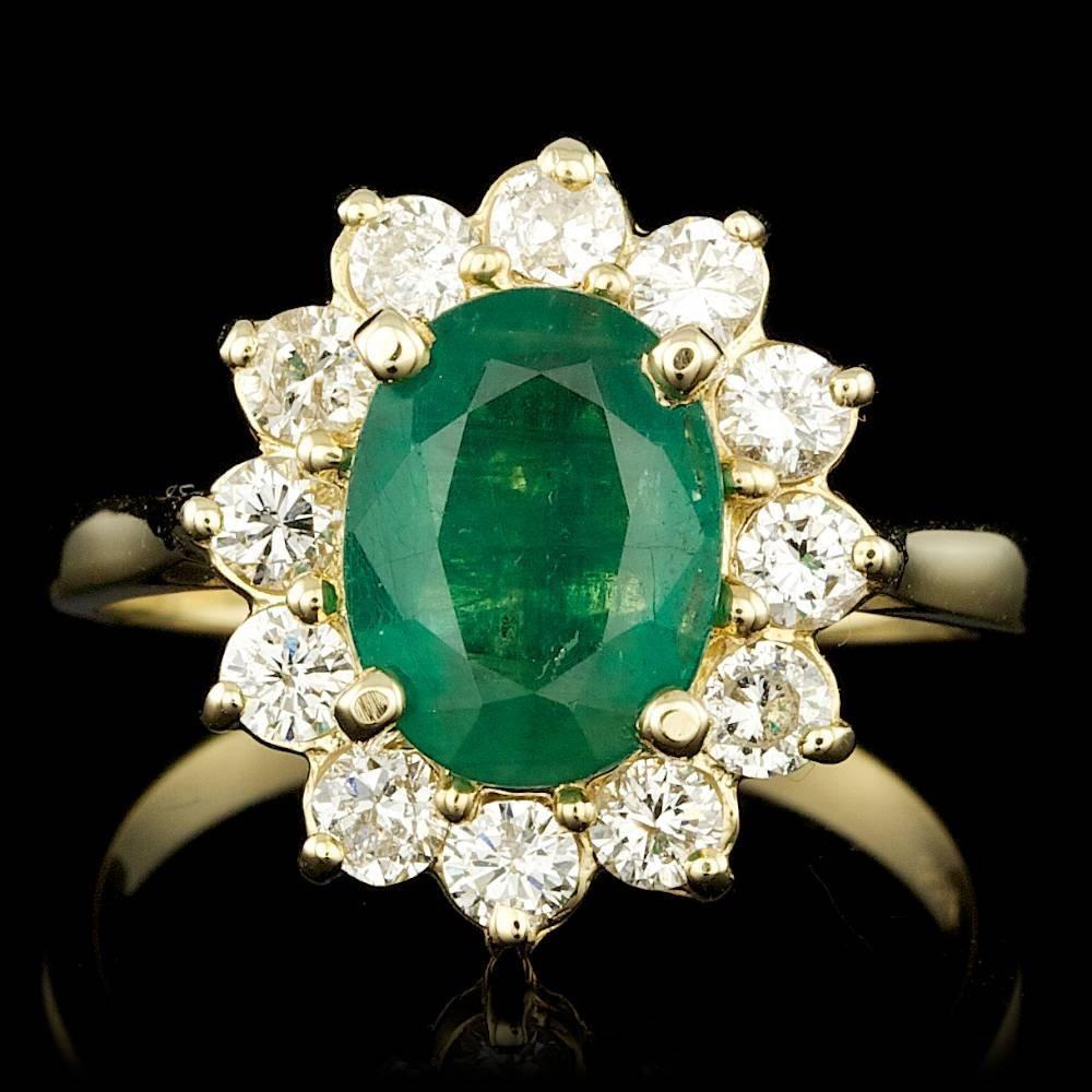 14k Gold 2.60ct Emerald 1.00ct Diamond Ring
