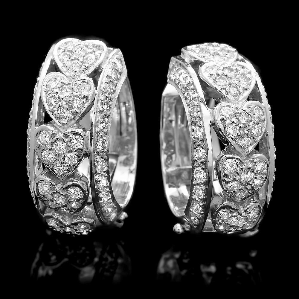 14k White Gold 1.25ct Diamond Hoop Pave Earrings