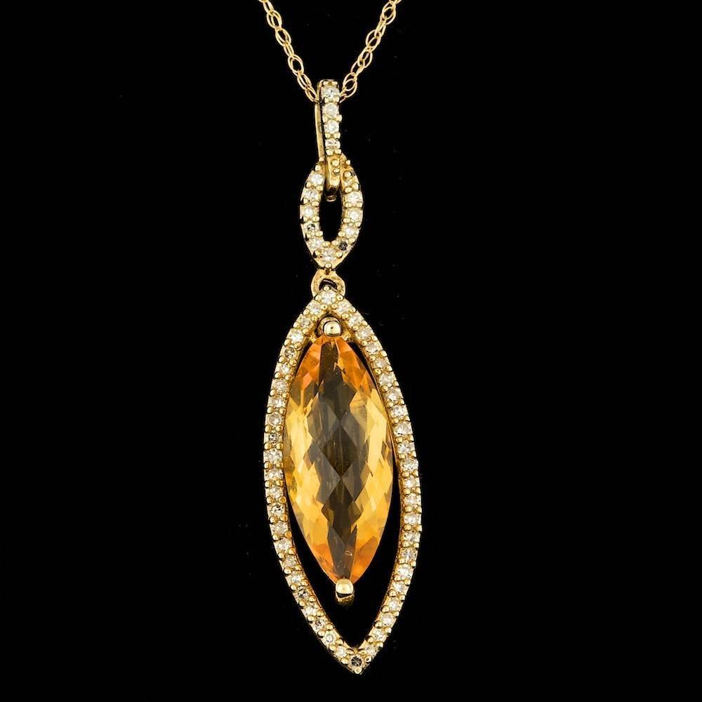 10k Gold 3.00ct Citrine 0.20ct Diamond Pendant