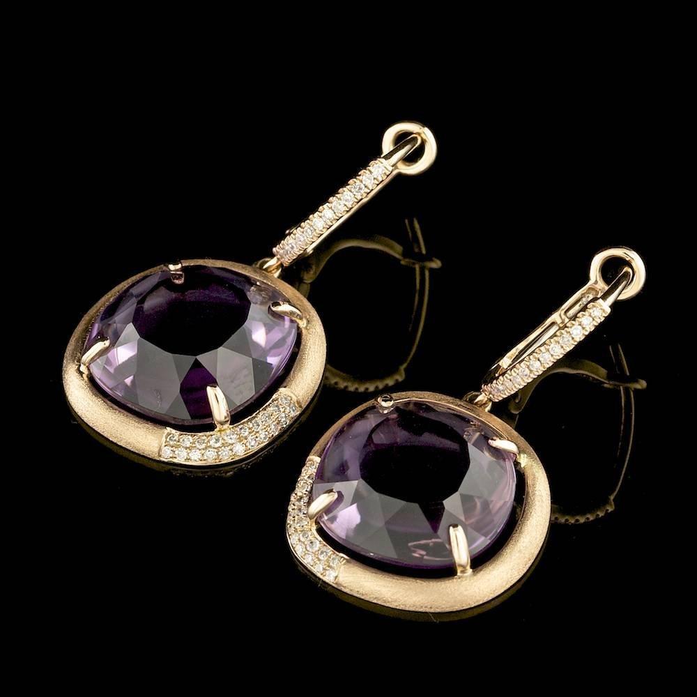 14k Rose 12.50ct Amethyst 0.20ct Diamond Earrings