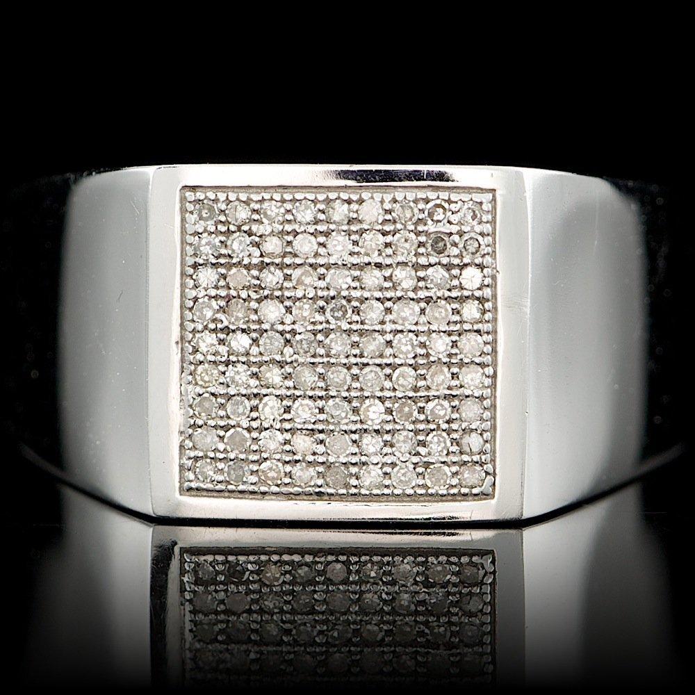 10k White Gold 0.25ct Diamond Mens Ring