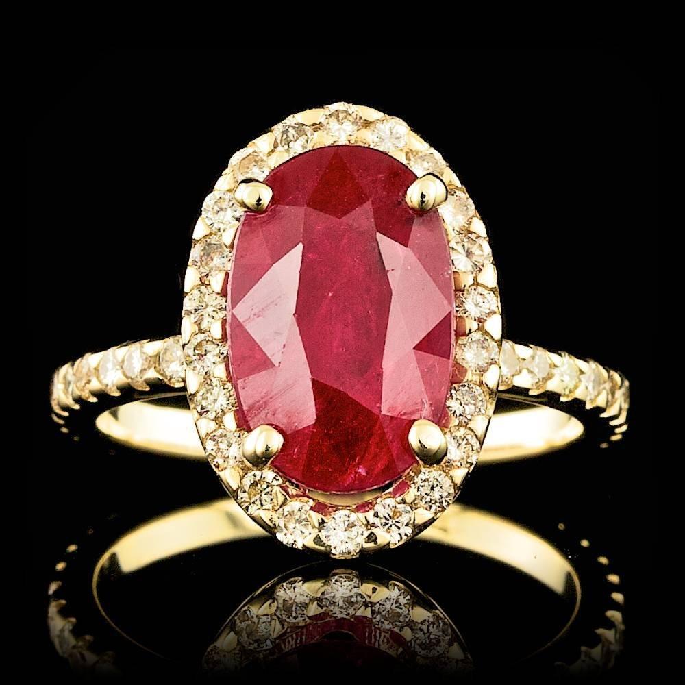 14k Yellow Gold 4ct Untreated Ruby & Diamond Ring