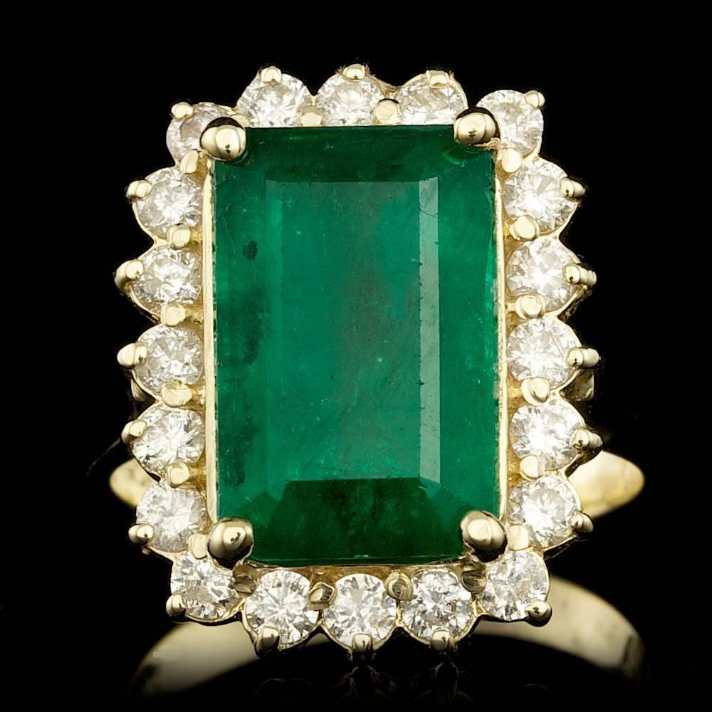 14k Gold 5.80ct Emerald 0.95ct Diamond Ring