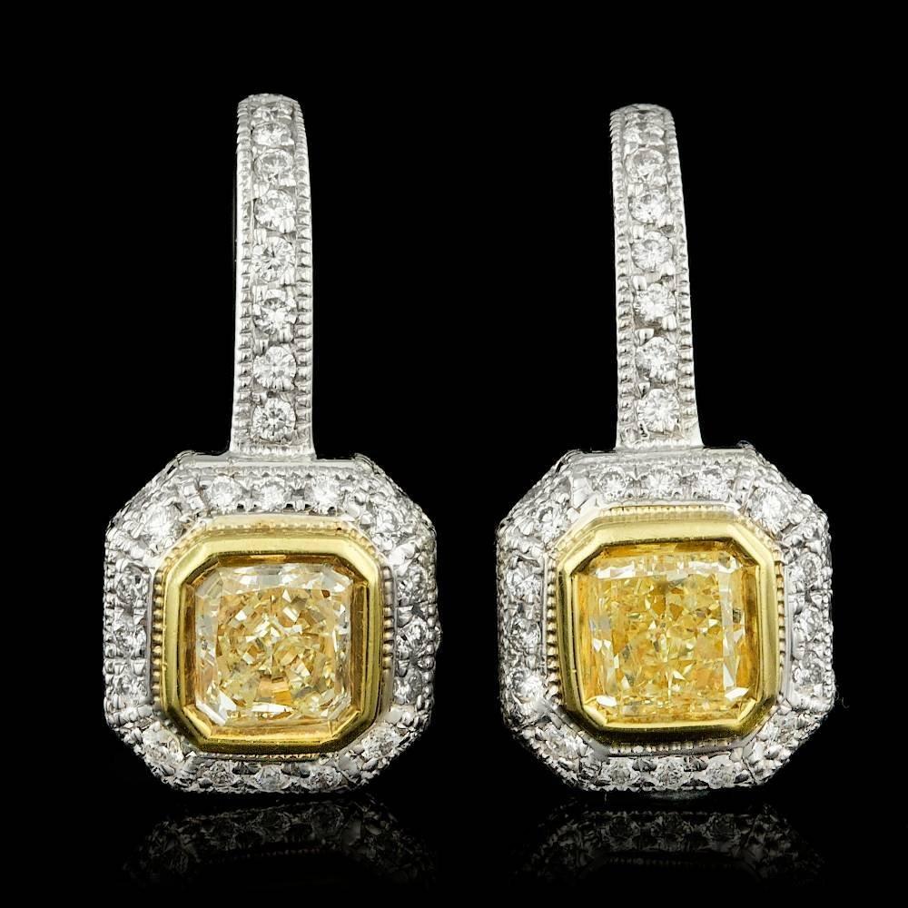 18k Multi-Tone Gold 2.19ct Diamond Earrings