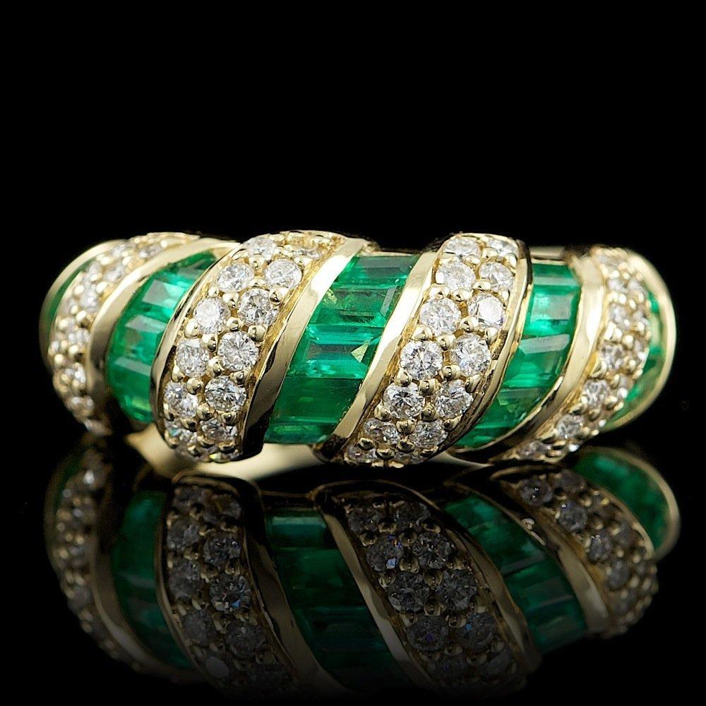 18k Gold 1.03ct Emerald 0.76ct Diamond Ring