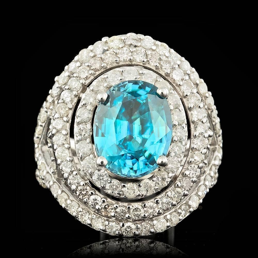 14k White Gold 6.00ct Zircon 3.00ct Diamond Ring