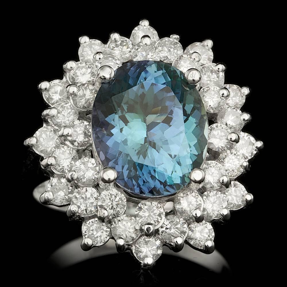 14k Gold 5.25ct Tanzanite 1.95ct Diamond Ring
