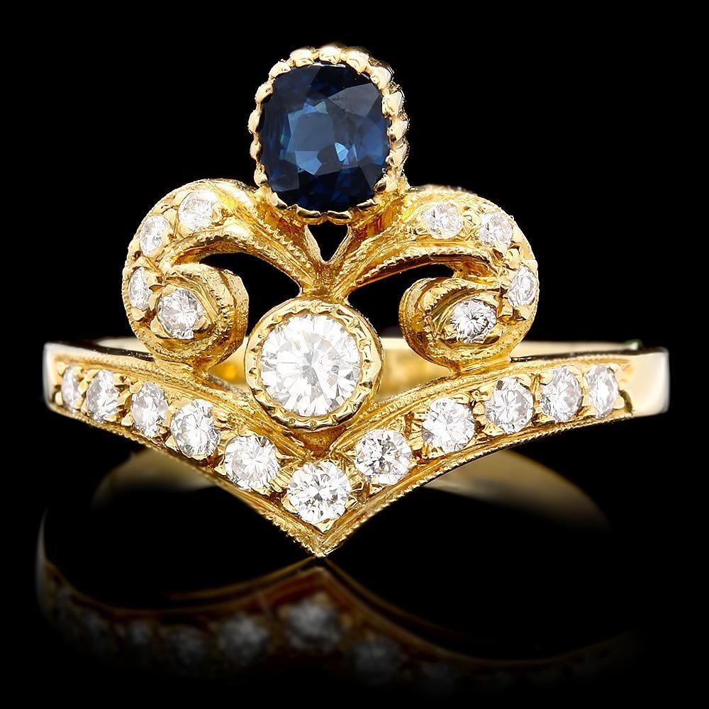 14k Gold 0.55ct Sapphire 0.50ct Diamond Ring
