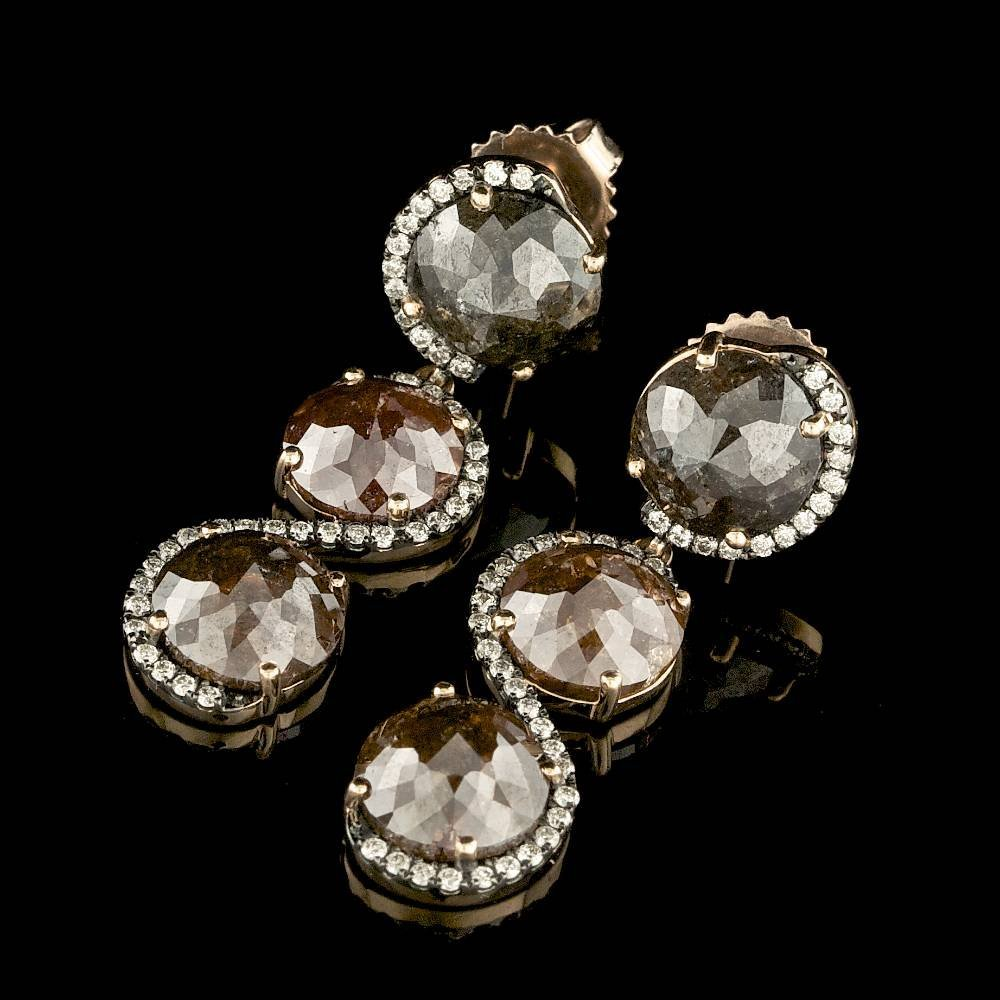 14k Rose Gold 9.3ct Diamond Earrings