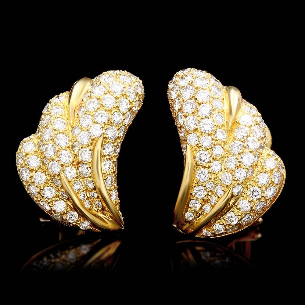 18k Gold Clip-On 4.85ct Diamond Pave Earrings