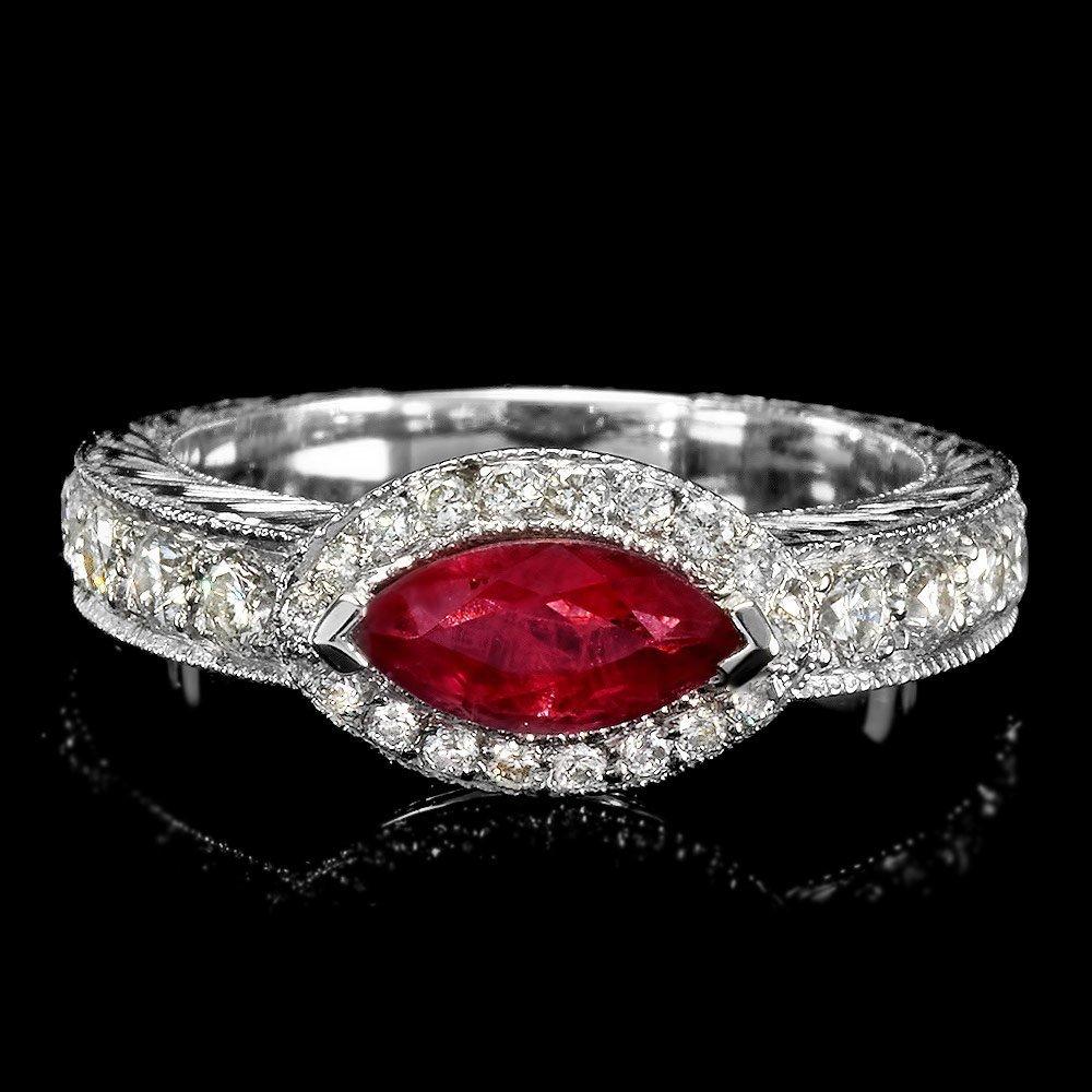 14k White Gold 0.75ct Ruby 0.65ct Diamond Ring