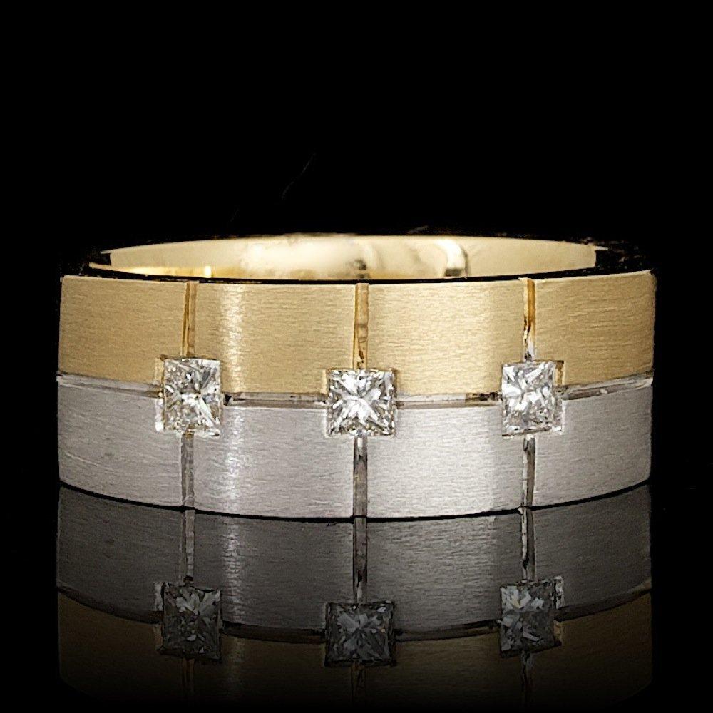 14k Multi-Tone Gold 0.35ct Diamond Mens Ring