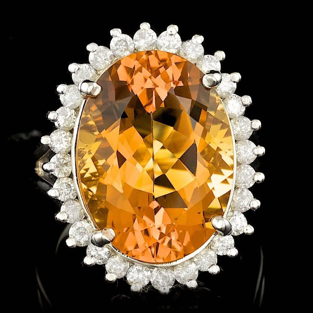 14k Gold 13.00ct Citrine 1.00ct Diamond Ring