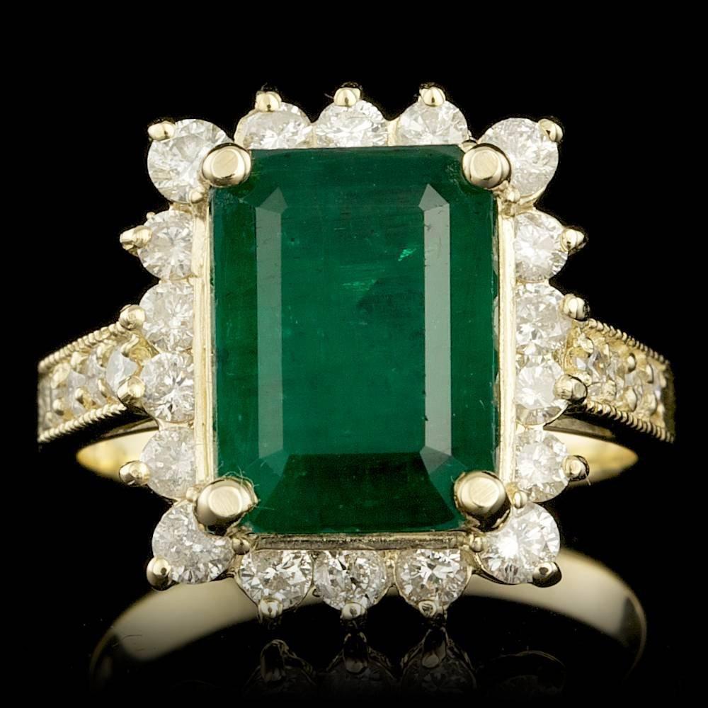 14k Gold 5.00ct Emerald 1.10ct Diamond Ring