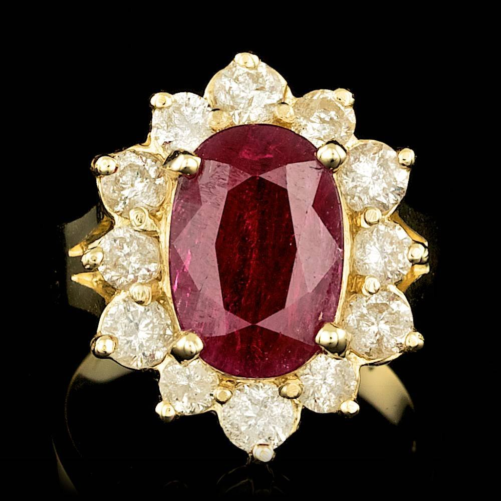 14k Yellow Gold 5.50ct Ruby 1.65ct Diamond Ring