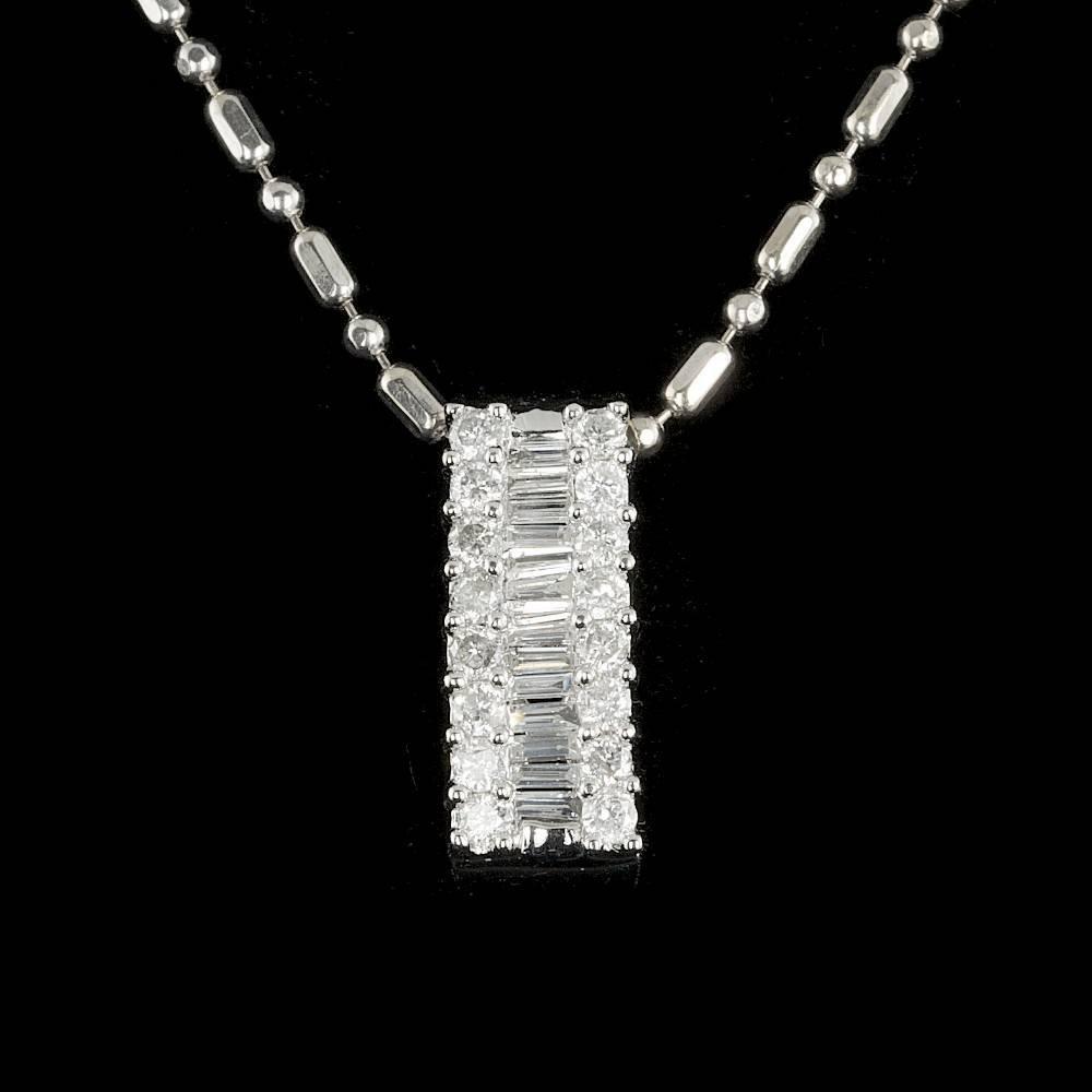 14k White Gold .6ct Diamond Pendant