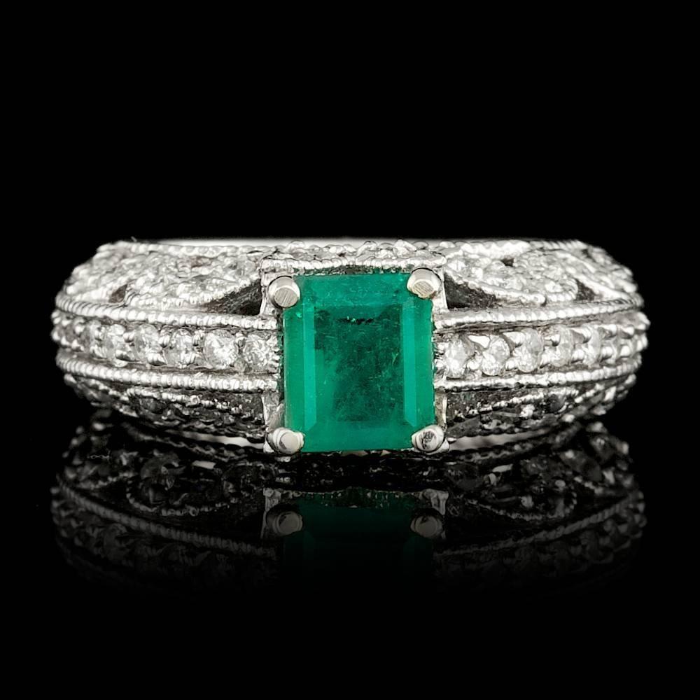 14k White Gold 0.80ct Emerald 0.95ct Diamond Ring