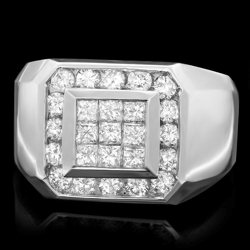 14k White Gold 1.5ct Diamond Mens Ring