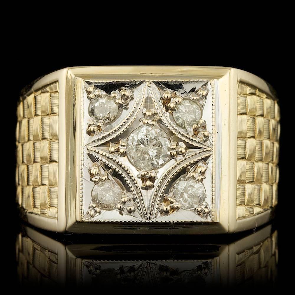 14k Yellow Gold 0.45ct Diamond Mens Ring