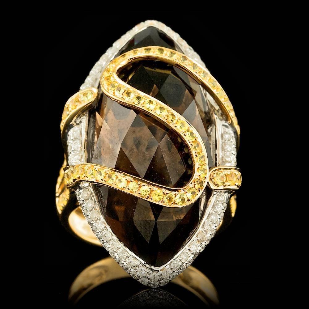 18k Gold 30.00ct Quartz 0.60ct Diamond Ring