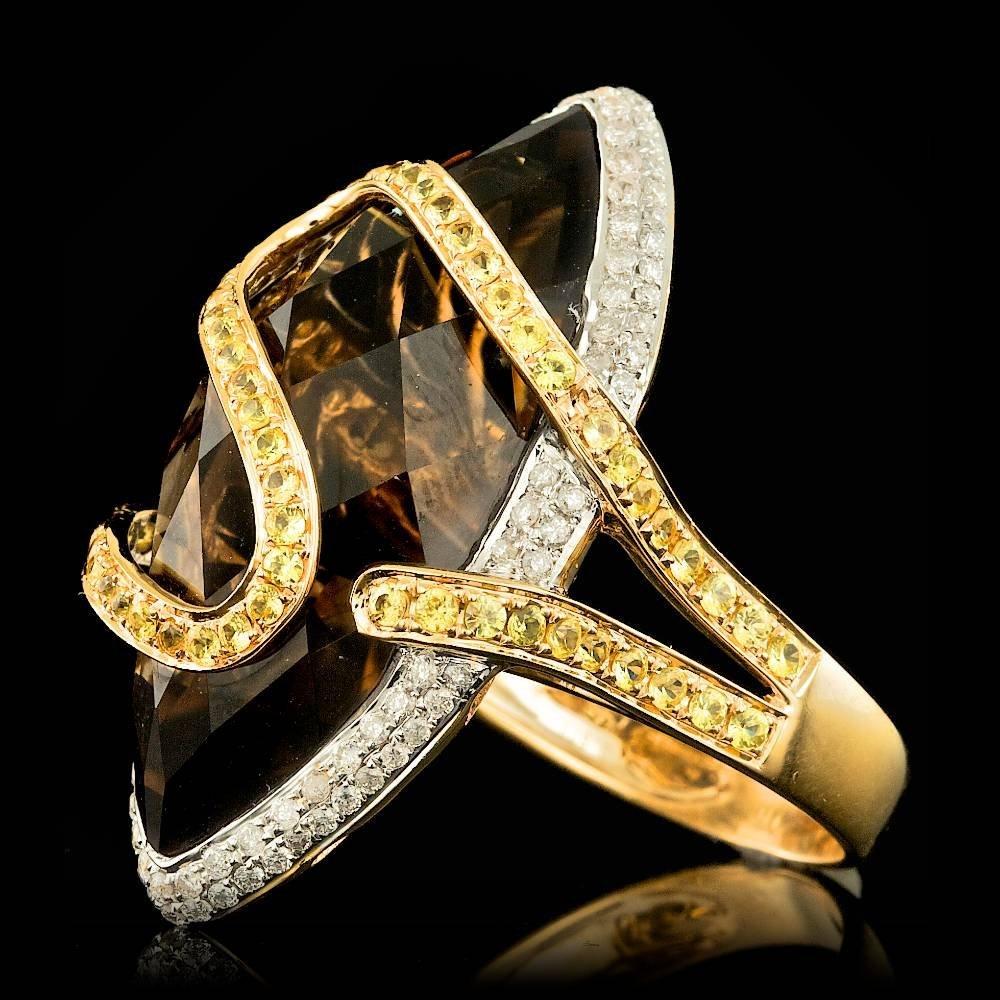 18k Gold 30.00ct Quartz 0.60ct Diamond Ring - 2