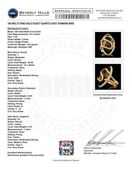 18k Gold 30.00ct Quartz 0.60ct Diamond Ring - 5