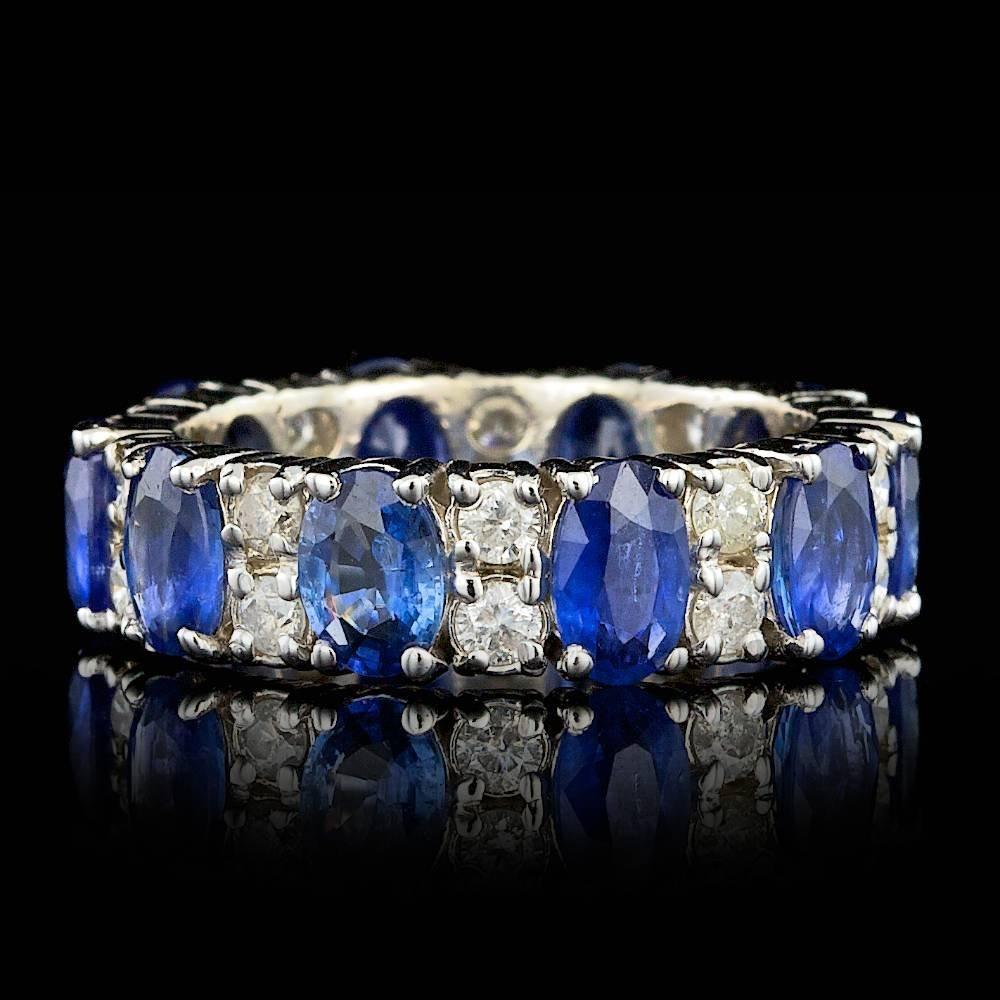 14k Gold 5.50ct Sapphire 1.10ct Diamond Ring