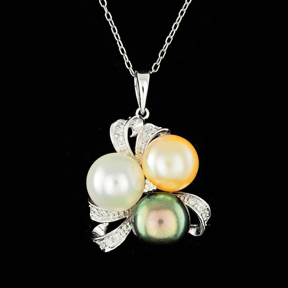 14k White Gold 8mm Pearl 0.10ct Diamond Pendant