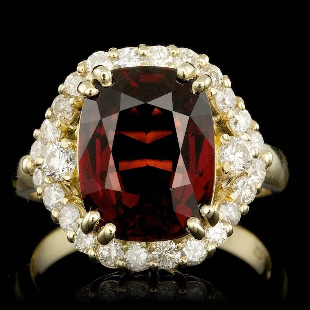14k Yellow Gold 7.00ct Garnet 1.00ct Diamond Ring