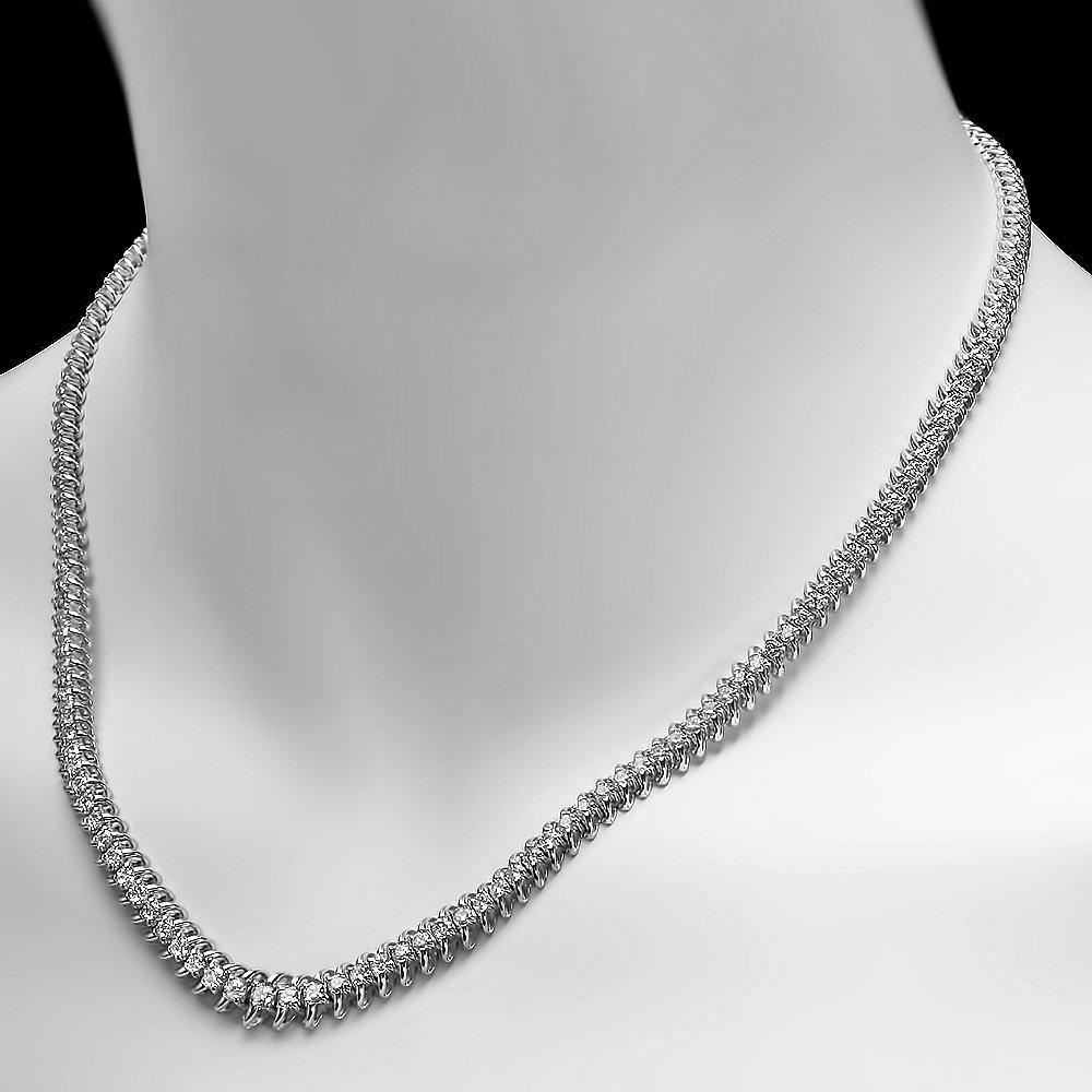 14k White Gold 5.00ct Diamond Necklace - 4