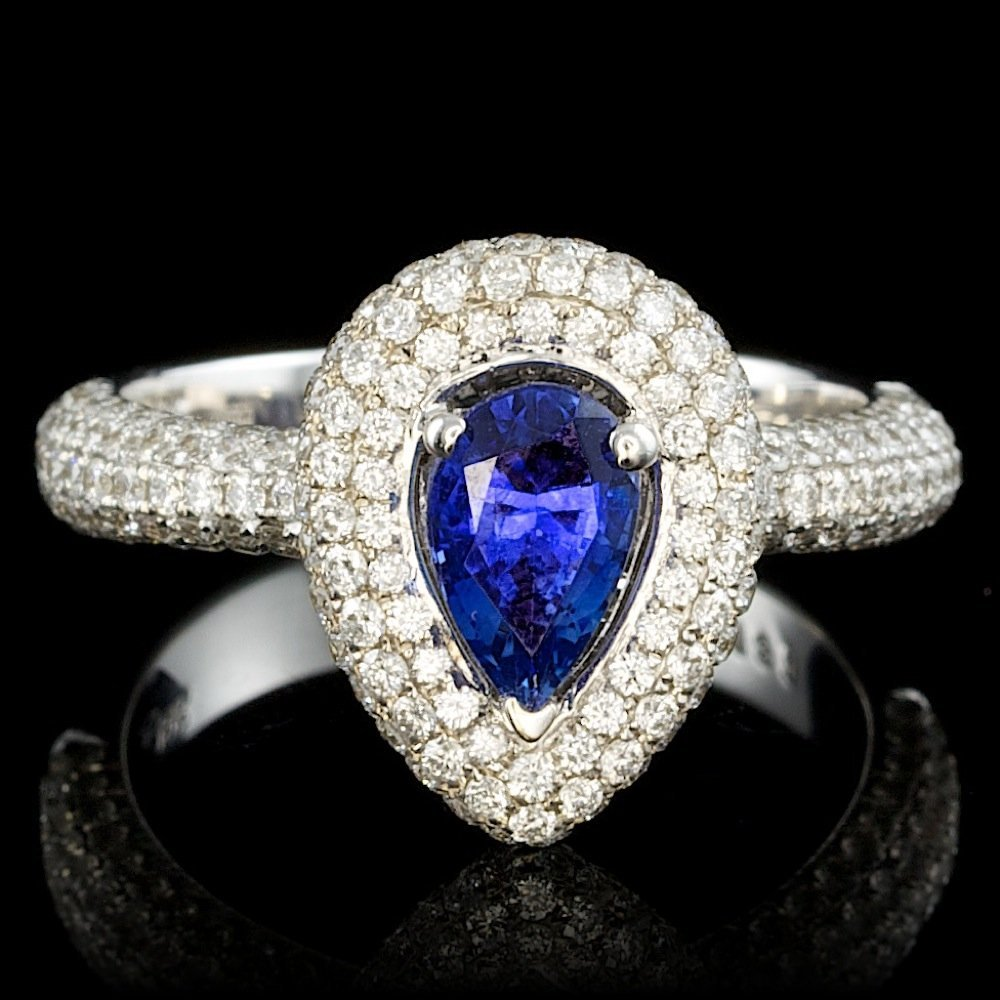 18k Gold 1.00ct Sapphire 1.30ct Diamond Ring