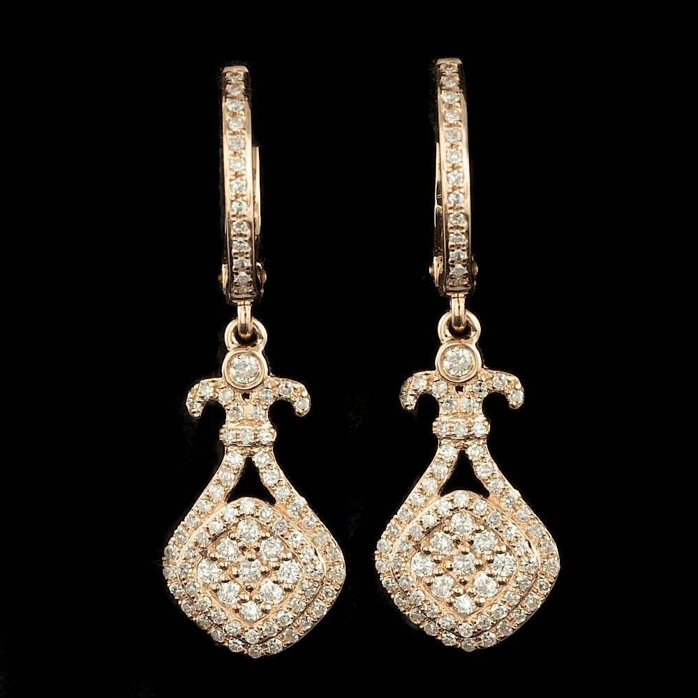 14k Rose Gold 0.75ct Diamond Earrings