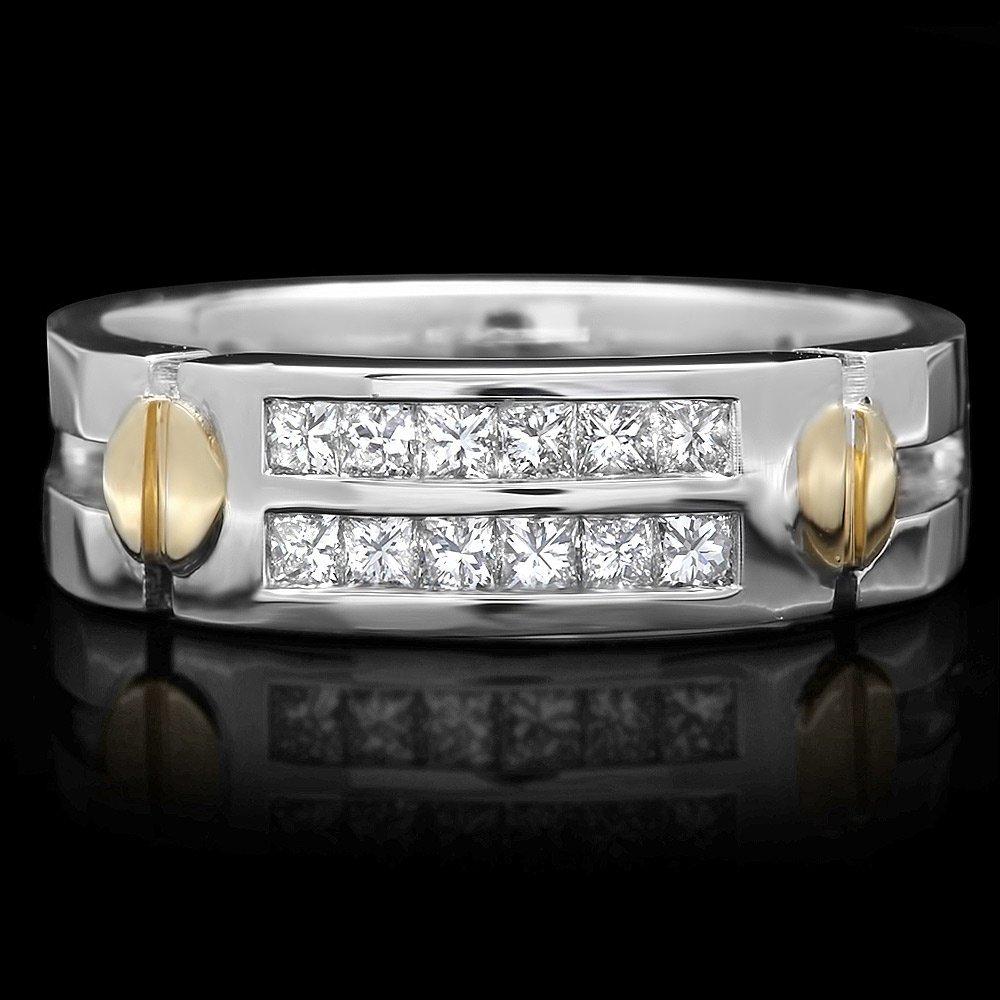 14k Multi-Tone Gold 0.65ct Diamond Mens Ring