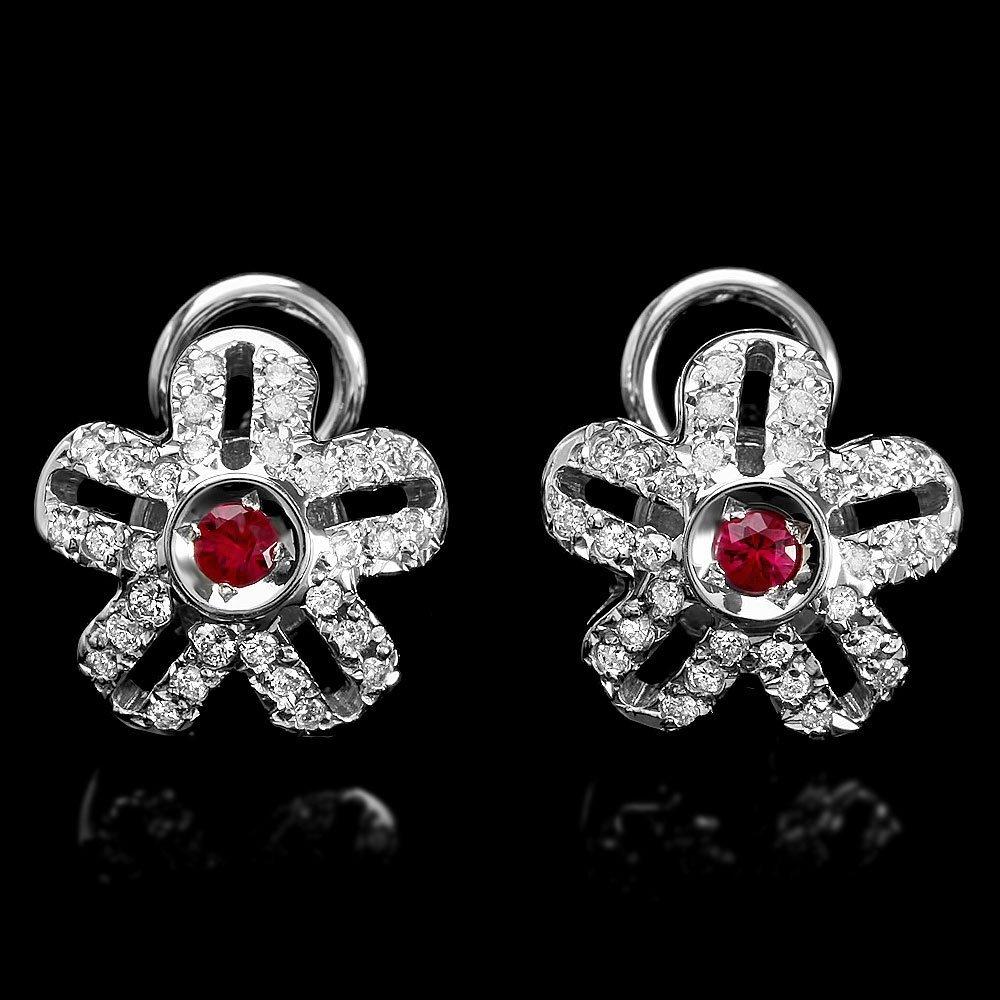 14k Gold 0.20ct Ruby 0.75ct Diamond Earrings