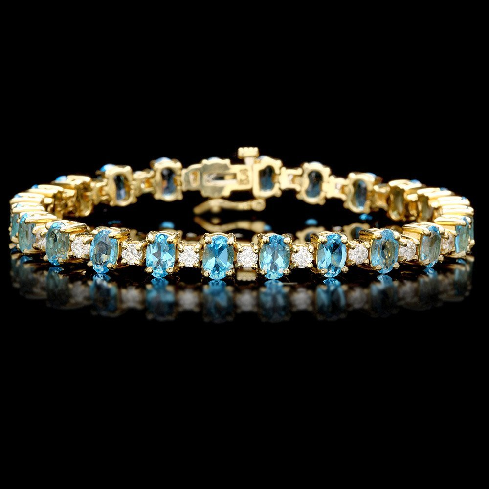 14k Gold 13.00ct Topaz 2.15ct Diamond Bracelet