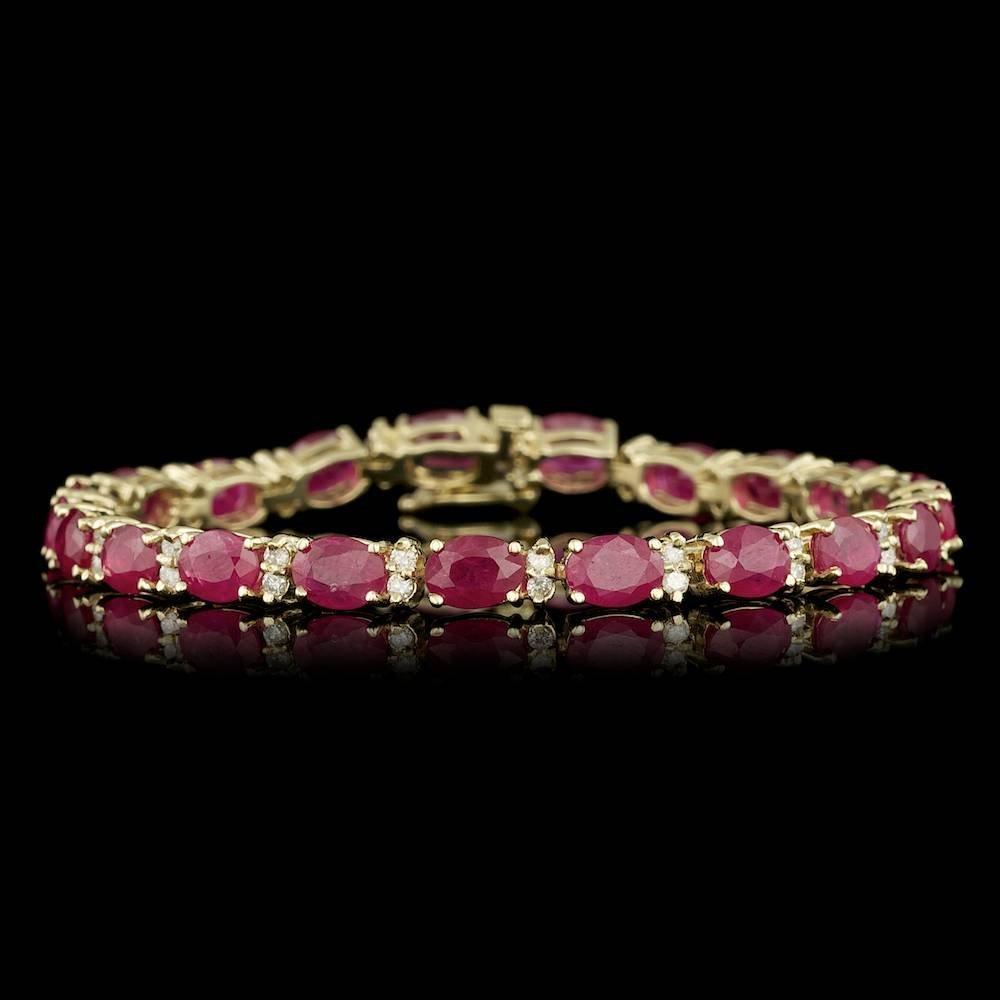 14k Gold 19.00ct Ruby 1.25ct Diamond Bracelet