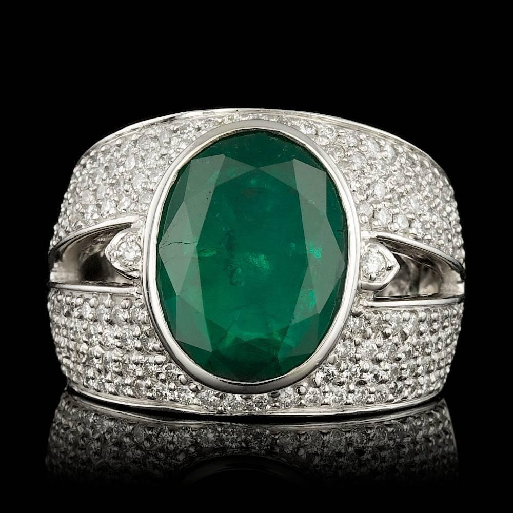 14k White Gold 5.50ct Emerald 1.25ct Diamond Ring