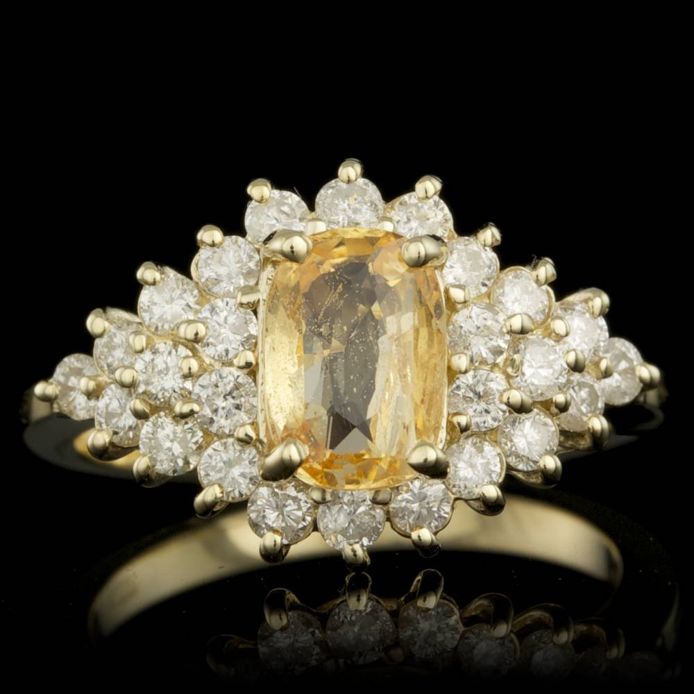 14k Gold 2.00ct Sapphire 1.25ct Diamond Ring