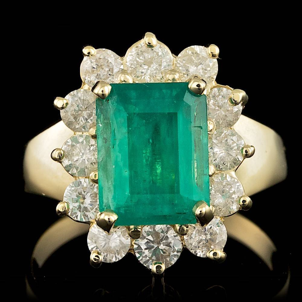 14k Gold 3.00ct Emerald 1.25ct Diamond Ring