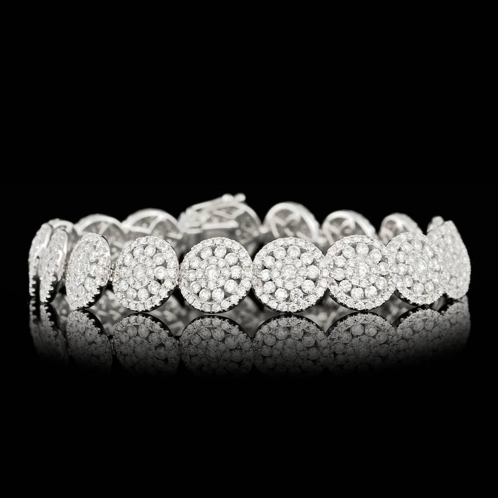14k White Gold 8.20ct Diamond Bracelet