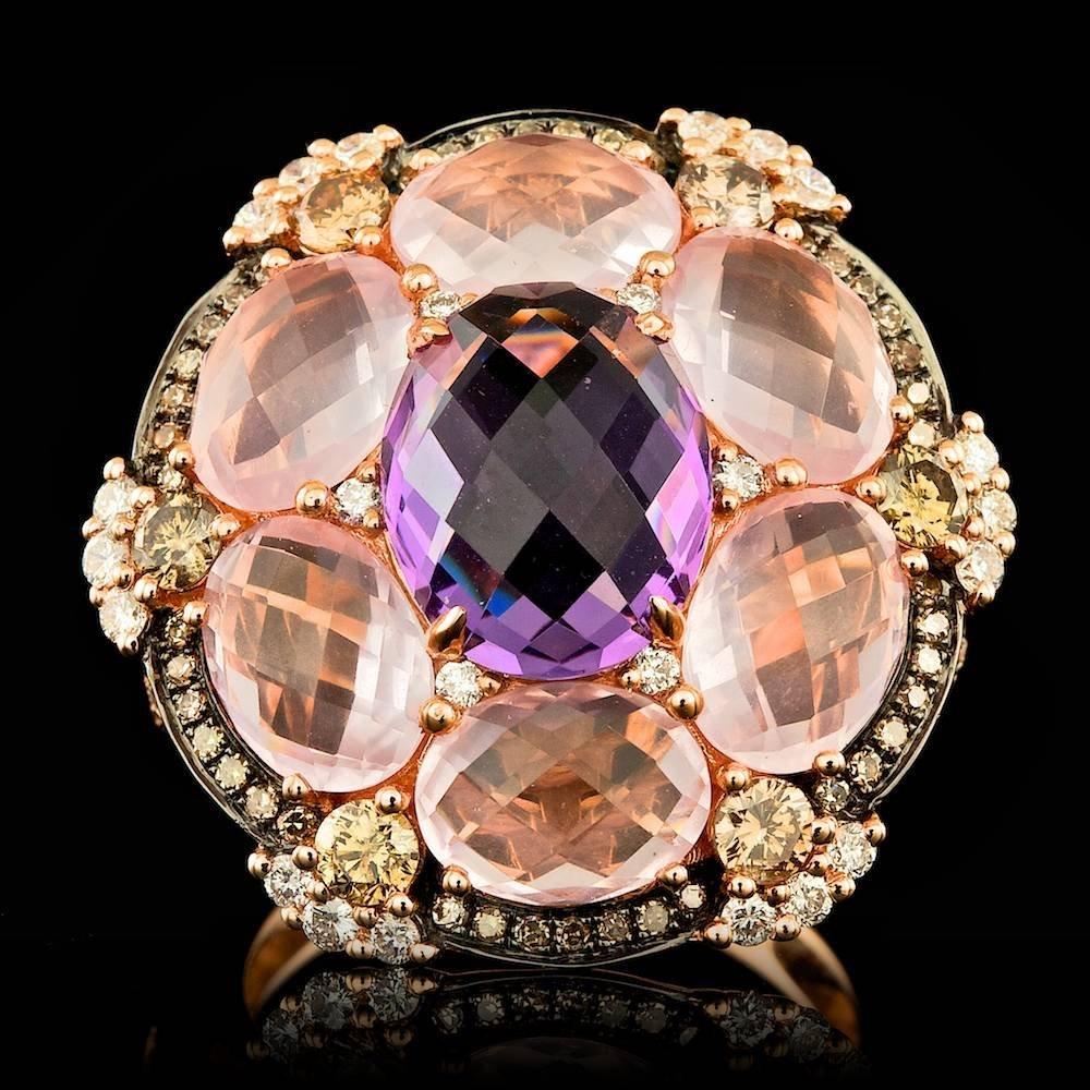 18k Rose Gold 3.00ct Amethyst 1.20ct Diamond Ring