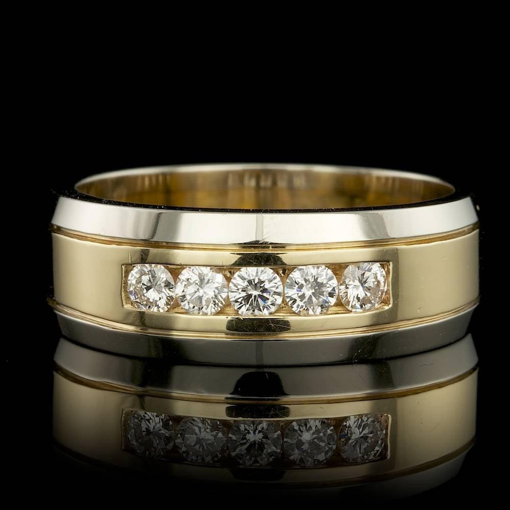14k Multi-Tone Gold 0.75ct Diamond Mens Ring
