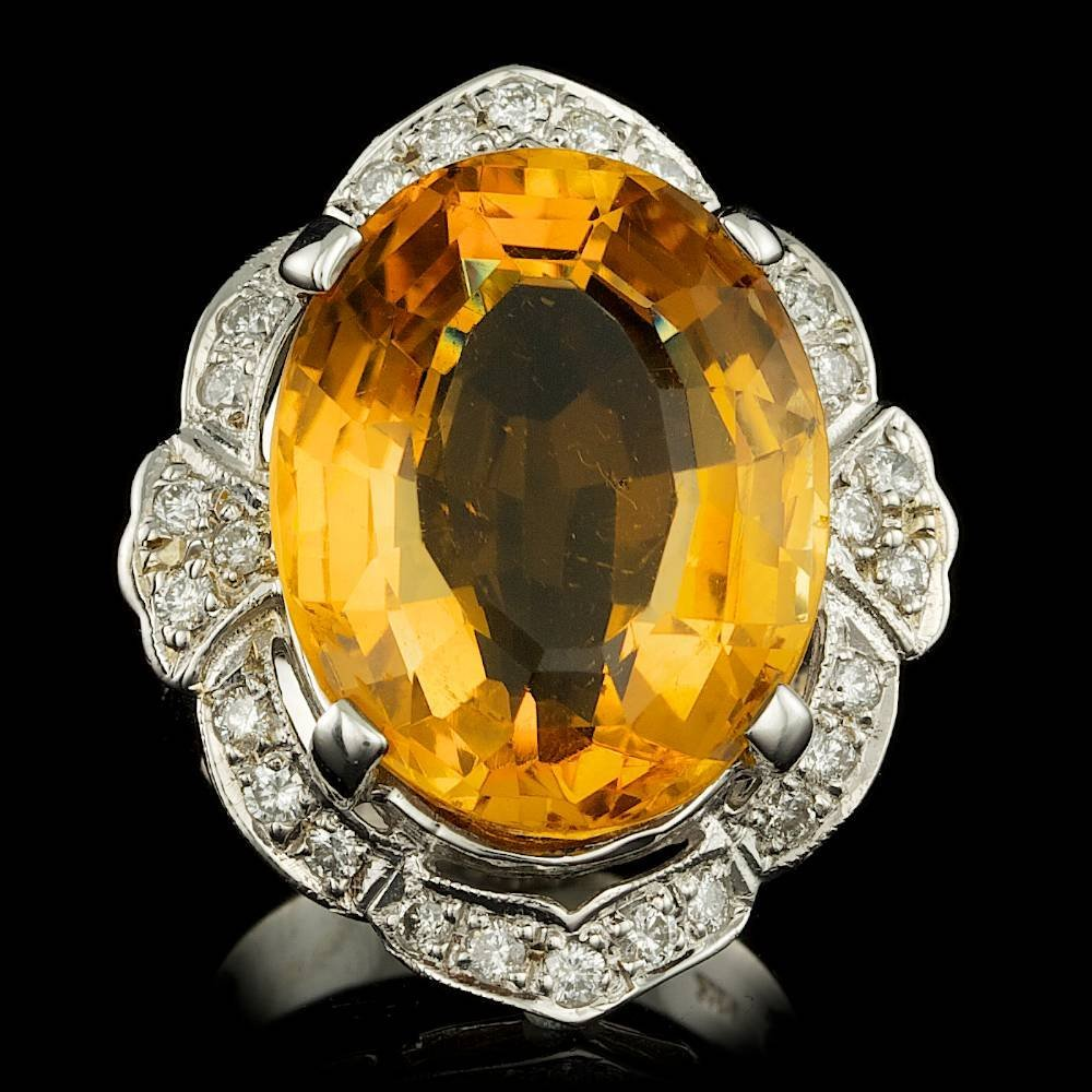 14k Gold 15.50ct Citrine 0.50ct Diamond Ring