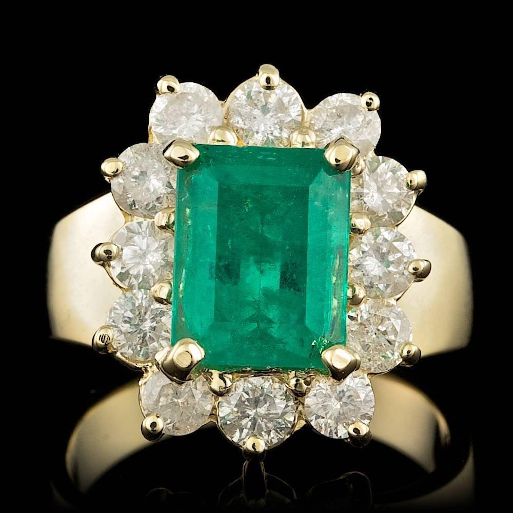 14k Gold 3.00ct Emerald 1.45ct Diamond Ring